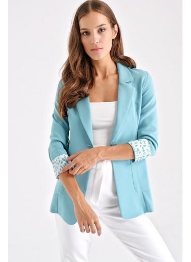 Jument Yakalı Cepli Uzun Kol Katlamalı Blazer Kumaş Ceket-Lacivert Yeşil